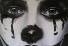 moucheron clown, h/t 80x80cm