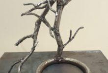 Arbre à la branche cassée, acier soudé, 20cm